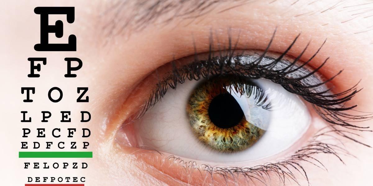 Eye closeup and eye chart