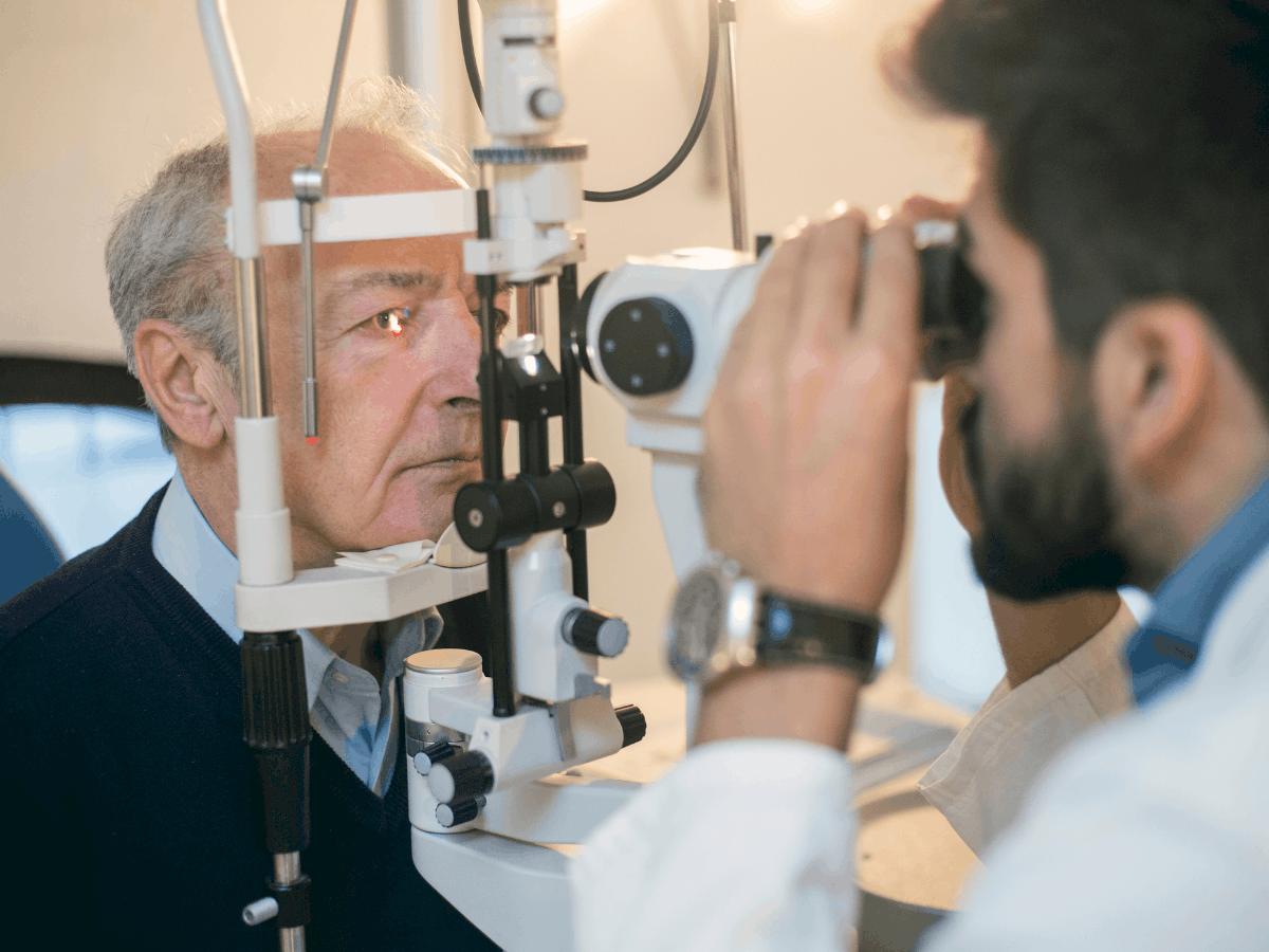 Older Man having eye exam